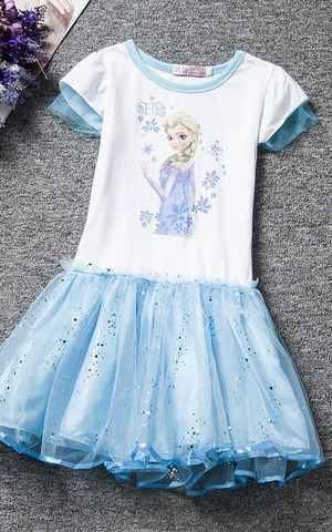 F68090-2New girl Elsa Dress Kids Summer Snow clothes Princess lace Party  dress