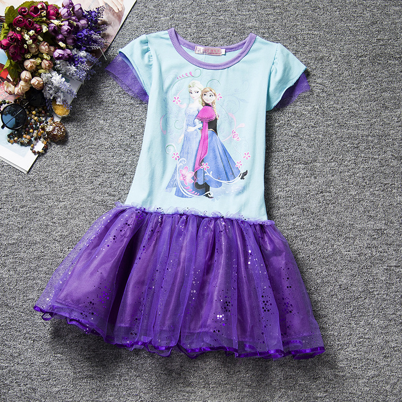 F68090-3New girl Elsa Dress Kids Summer Snow clothes Princess lace Party  dress