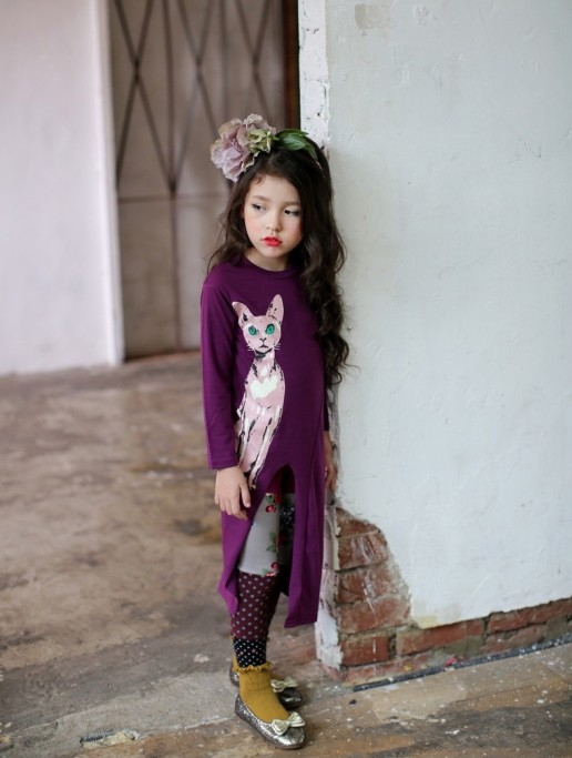 F68096-1 Spring autumn girls sexy kitten longs sleeve children dress