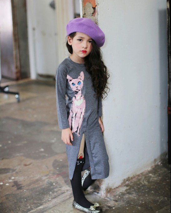 F68096-2 Spring autumn girls sexy kitten longs sleeve children dress