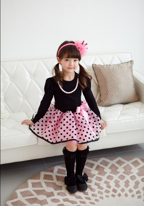 F68098-2 autumn sweet princess skirt girl bow long sleev dress