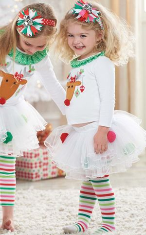 F68103 Baby Girl Davids deer Suit T shirt Culottes Long Pants Outfits Skirt