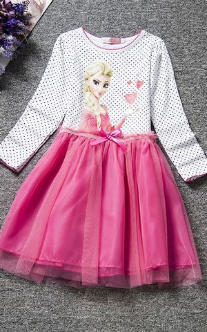 F68106-3 frozen long Sleeve Cartoon Printed Princess Dress Tutu Dresses