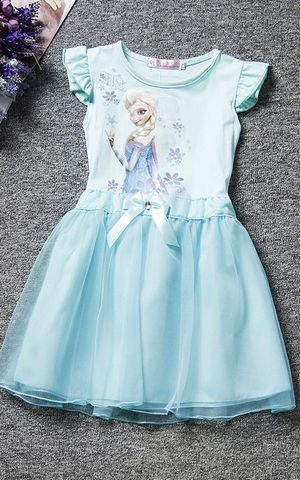 F68107 girl Ruffle cap sleeves blue frozen dress with tulle