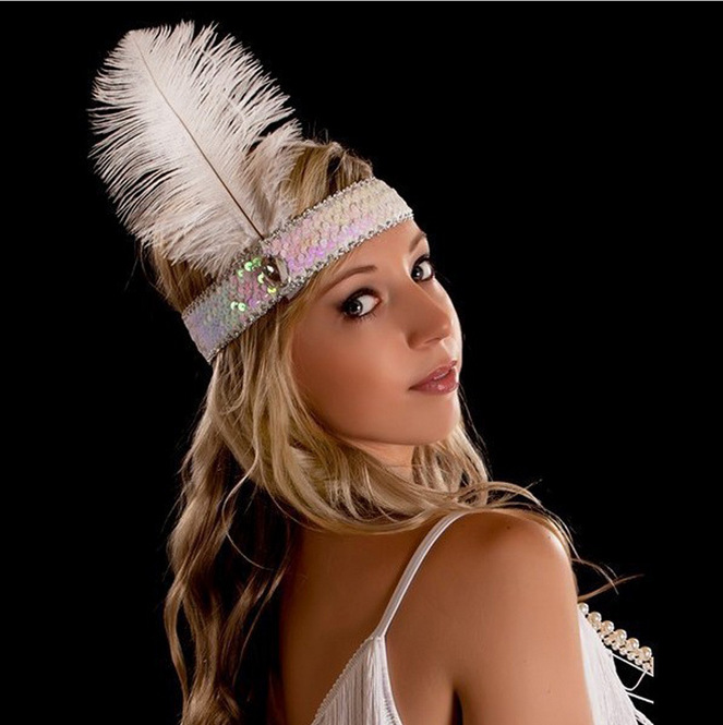 B044 Ostrich feather headdress feathers with sequins set auger color headband