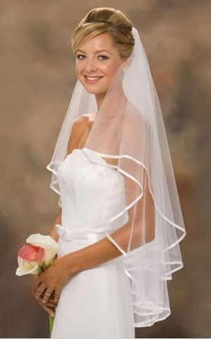 B045 The bride marriage yarn double ribbon serging  modelling veil and combs