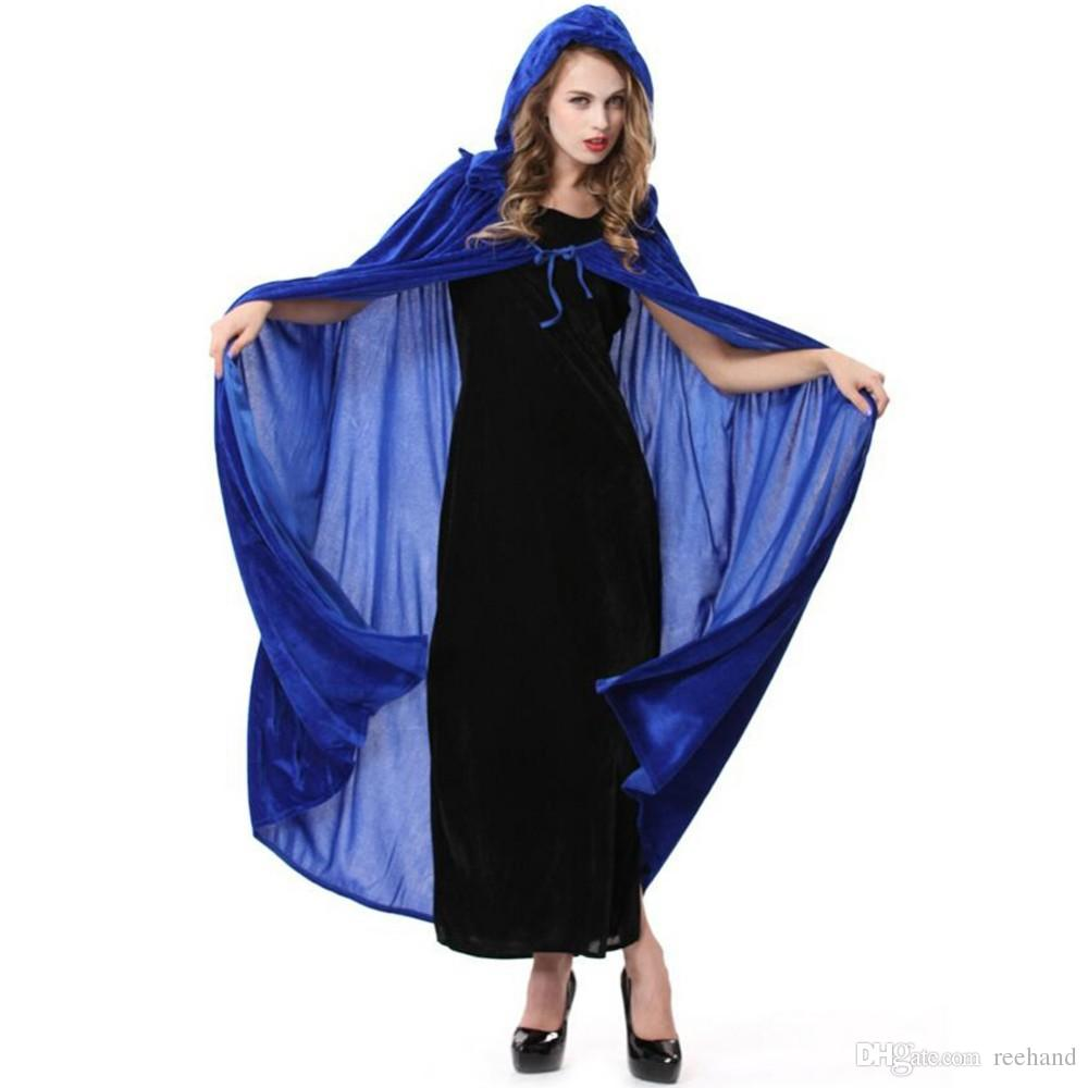 B048-1 Halloween  costume party performance clothing dense velvet witch cloak