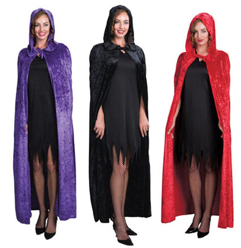 B048-4Halloween cape costume party performance clothing dense velvet cloak witch
