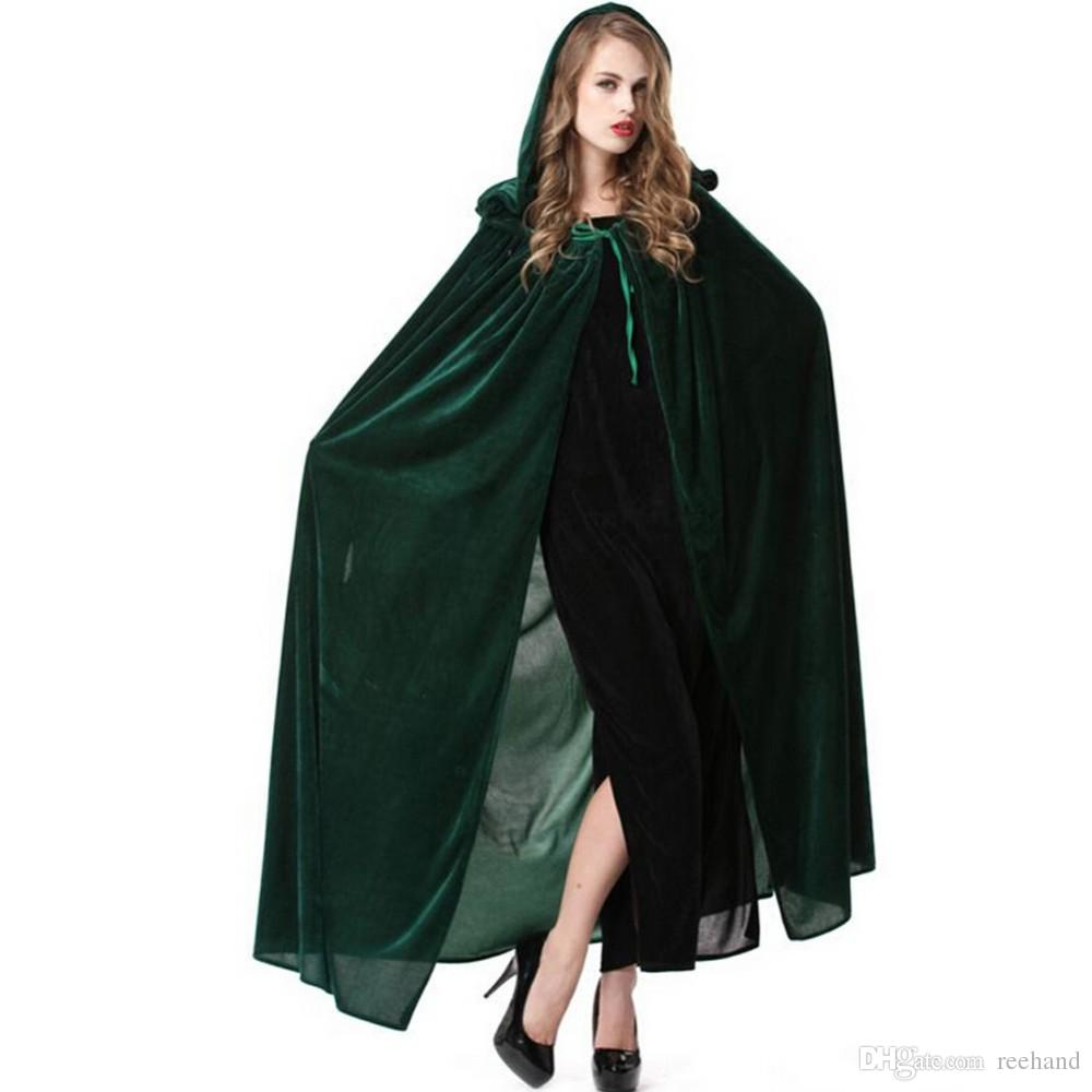 B048-5Halloween cape costume party performance clothing dense velvet cloak witch