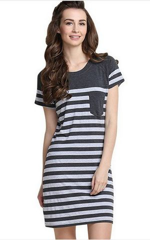 SL80001 Summer new stripe knitwear large size elastic women cotton nightgown