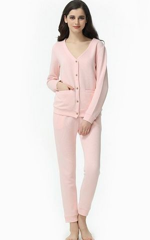 SL80003-1Spring and autumn lovers cardigan long sleeved cotton pajamas