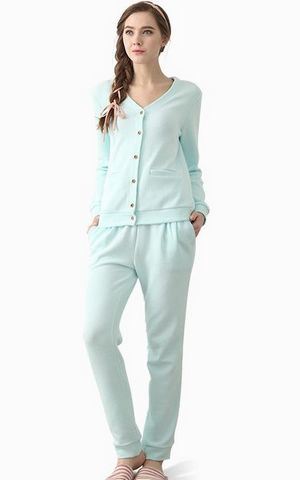 SL80003-3 long sleeved cotton pajamas europe women s underwear set