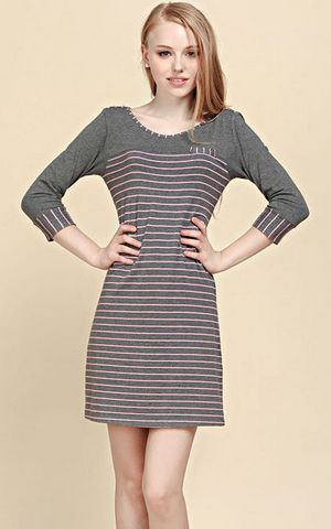 SL80005-1 long sleeve knitted striped womens nightgown