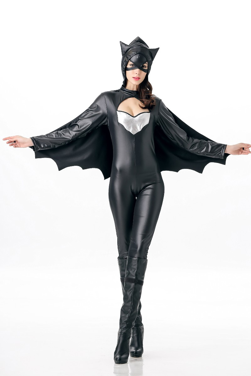 F1738 New Black Leather Halloween Uniform Cosplay Costume For Women