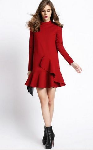 F2486-1 Red High Neck Ruffle Long Sleeve Flounce Hem Dress
