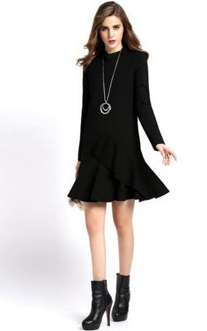 F2486-2 Black High Neck Ruffle Long Sleeve Flounce Hem Dress