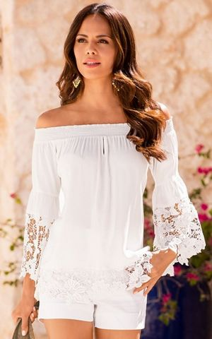 F2488-2 Off-The-Shoulder Lace Trim Blouse