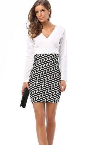 F2494 V neck Long Sleeves Hip packed Mini Pencil Dress