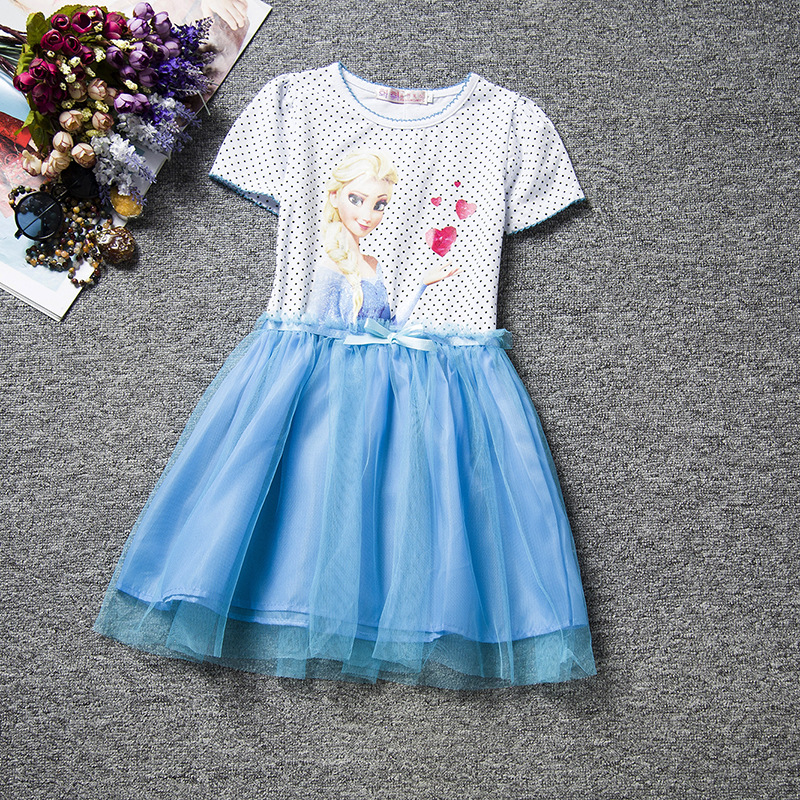 F68091-2 Snow Queen Elsa Dress  Clothing Polka Dot Cotton Baby Girl Party Dress