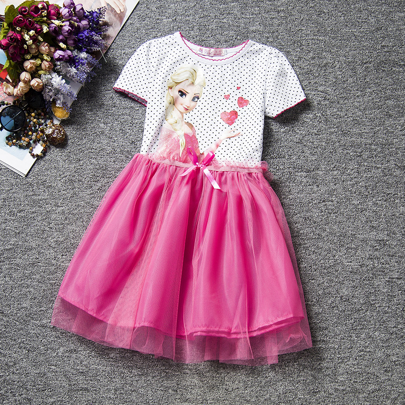 F68091-3 Snow Queen Elsa Dress  Clothing Polka Dot Cotton Baby Girl Party Dress