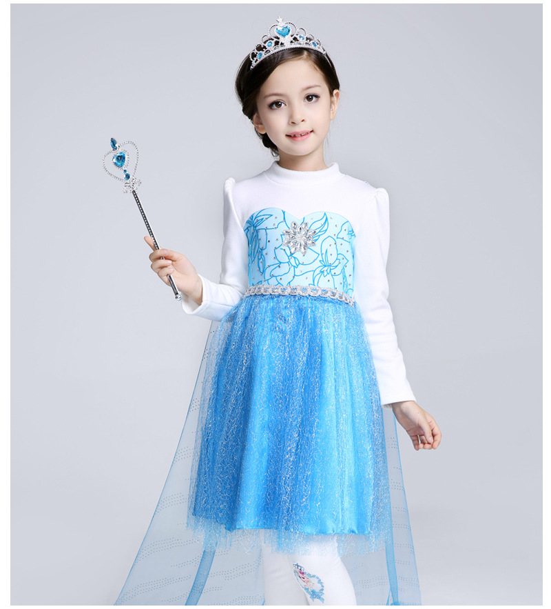 F68131 Wholesale blue long sleeved dress pure cotton princess dress