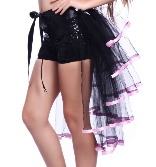 F7319-2 5 Tiered Half Burlesque Bustle Party Tutu Tail Skirt Fancy Dress