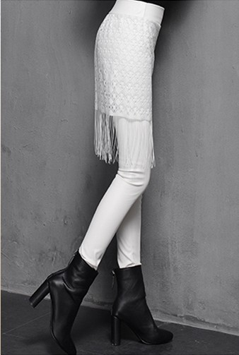 F8912-2 White leather leggings for women