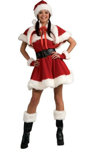 FC133 Velvet SEXY MISS SANTA Outfit Christmas Costume