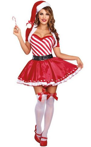 FC135 Candy Cane Cutie Costume Womens Sexy Christmas Fancy Dress