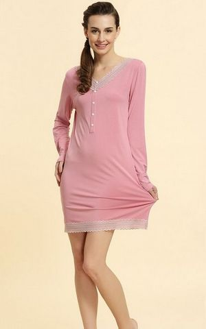 SL80006-1 Autumn ladies knit large size lace long sleeved nightgown
