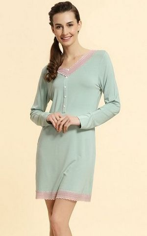 SL80006-2 Autumn ladies knit large size lace long sleeved nightgown