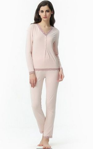 SL80008-1 Spring and Autumn women lace long sleeved pants pajamas set