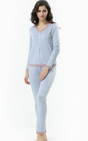 SL80008-2 Spring and Autumn women lace long sleeved pants pajamas set