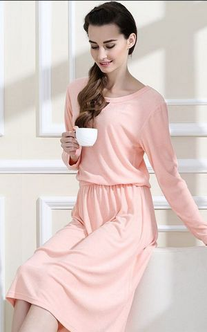 SL80009-1women sweet bamboo cotton fiber fashion long sleeved home pajamas dress