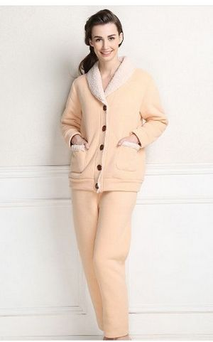 SL80010Wholesale top quality fashion warm plus velvet  thickening pajamas women