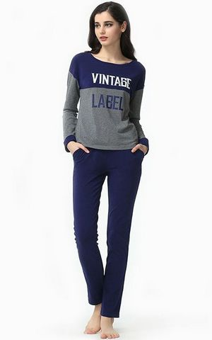 SL80012stitching letter printing cotton pajamas large size womens home pajamas