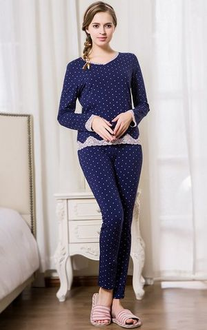SL80013-1new autumn womens cotton pajamas suit V - neck lace dots pajama