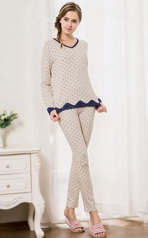 SL80013-2womens cotton pajamas suit V - neck lace dots pajamas