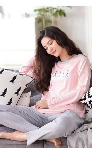 SL80016-1 long sleeved cotton pajamas simple natural cotton women home pajama