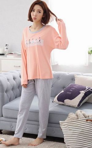 SL80016-2 long sleeved cotton pajamas simple natural cotton women home pajama