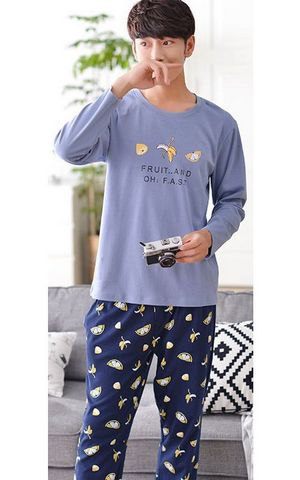 SL80017 pure cotton pajamas long sleeved  home casual cotton men pajamas suits