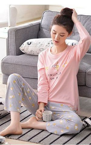 SL80018 cotton pajamas spring and autumn home clothing cotton leisure suits set