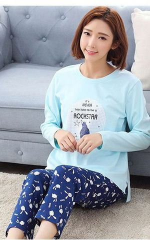 SL80019-1 female cotton long sleeved pants pajamas winter cotton