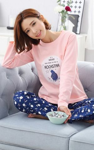 SL80019-2 female cotton long sleeved pants pajamas winter cotton