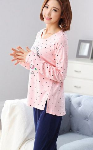 SL80020-1 womens printing long sleeved pants pajamas cotton  ladies pajama