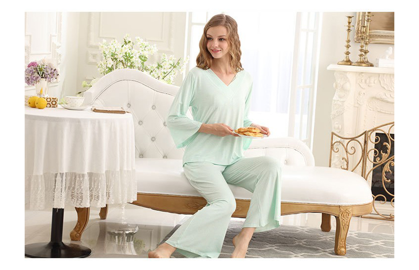 SL80023-1 natural cool autumn pajamas V neck lace two-piece outfit for women