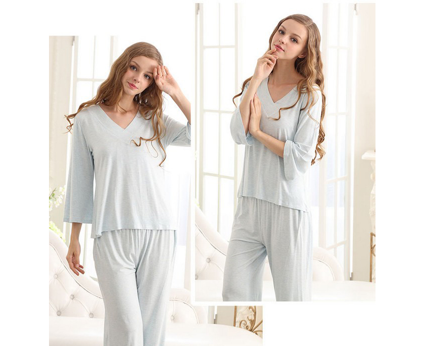 SL80023-3 natural cool autumn pajamas V neck lace two-piece outfit for women