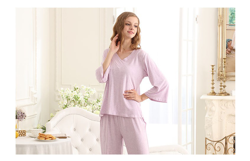 SL80023-4  natural cool autumn pajamas V neck lace two-piece outfit for women