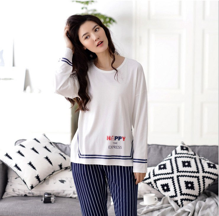 SL80027-2 suit loose soft stripes long sleeved cotton home pajamas