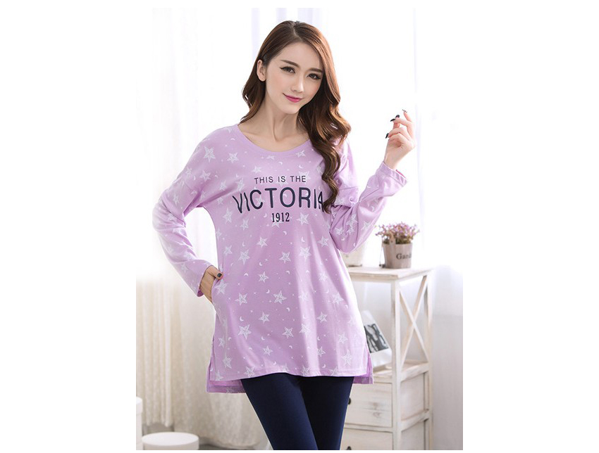 SL80029-2 Women s new autumn long sleeved pajamas double - sided cotton pajamas